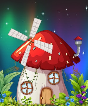Une maison de champignons dans la nature