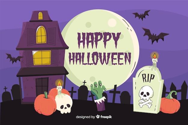 Maison et cimetière fond d'halloween