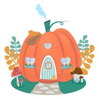 Maison de citrouille mignonne maison de gnome de citrouille de dessin animé illustration vectorielle