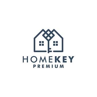 Maison clé logo modèle maison icône design logotype vecteur 3