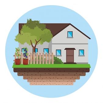 Maison avec clôture arbre jardin