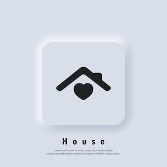 Maison avec coeur, symbole de la maison de l'amour. hôpital. famille heureuse. vecteur. icône de l'interface utilisateur. bouton web de l'interface utilisateur blanc neumorphic ui ux. neumorphisme