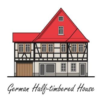Maison à colombage allemande avec toit rouge sur blanc