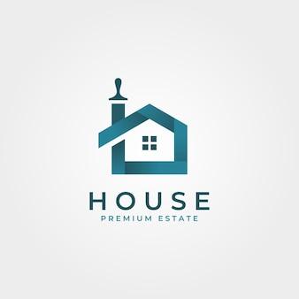 Maison colorée brosses logo illustration de symbole intelligent créatif