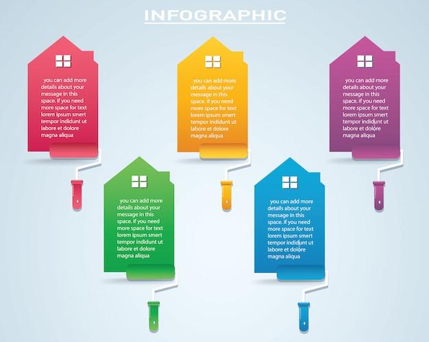 Maison colorée avec un rouleau à peinture infographique