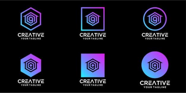 Maison de conception de logo combinée avec la conception de modèle de lettre q