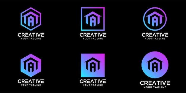 Maison de conception de logo combinée avec une conception de modèle de lettre