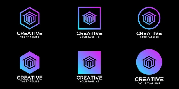 Maison de conception de logo combinée avec le modèle de conceptions de lettre m
