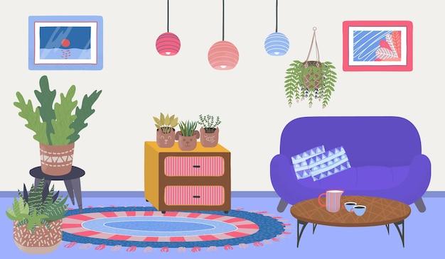 Maison confortable appartement chambre place plantes à la maison confortables détendez-vous armoire avec table en bois vecteur plat ...