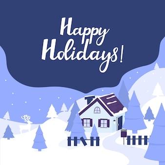 Maison confortable dans les montagnes. paysage d'hiver avec sapins et cerfs. lettrage à la main de joyeuses fêtes. carte de voeux pour noël et nouvel an