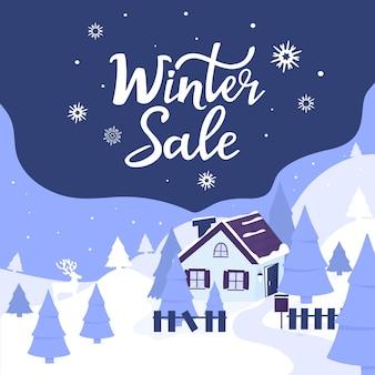 Maison confortable dans les montagnes. paysage avec sapins et cerfs. lettrage à la main des soldes d'hiver. affiche publicitaire, bannière pour noël et nouvel an