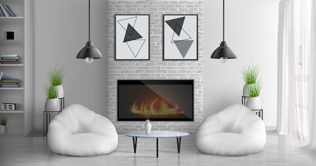 Maison confortable salon 3d intérieur réaliste avec table basse en verre, étagères, peintures abstraites sur le mur, pots de fleurs, lampes suspendues, deux fauteuils poires, près de l'illustration de la cheminée