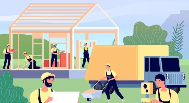Maison de construction de constructeurs. charpentiers d'ouvrier de construction, hommes construisent l'appartement de maison en bois