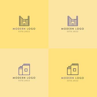 Maison de construction immobilière moderne créative deux logos différents