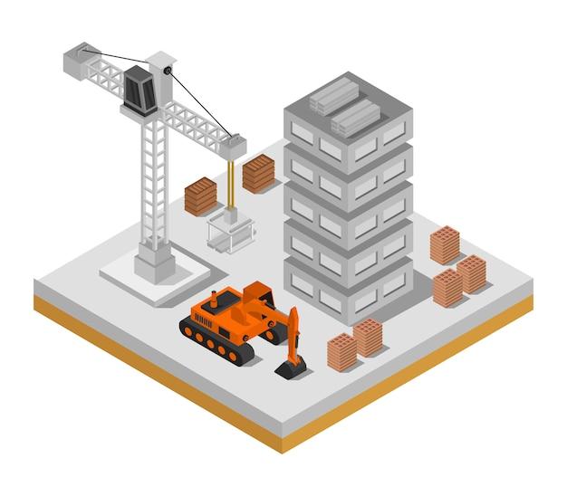 Maison en construction isométrique