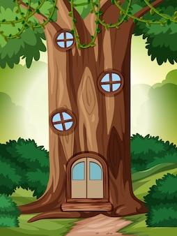 Une maison de conte de fées dans la nature