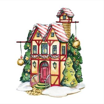 Maison de conte de fées illustration aquarelle dessinée à la main façade de cabane fabuleuse entourée d'arbres décorés du nouvel an sur fond blanc bâtiment avec des décorations de noël peinture aquarelle