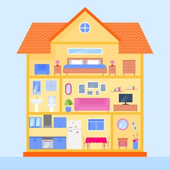 Maison en coupe illustrée
