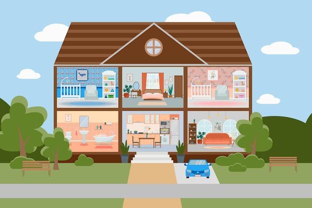 Maison coupée intérieur de maison détaillé avec meubles cuisine salon chambre chambres d'enfants