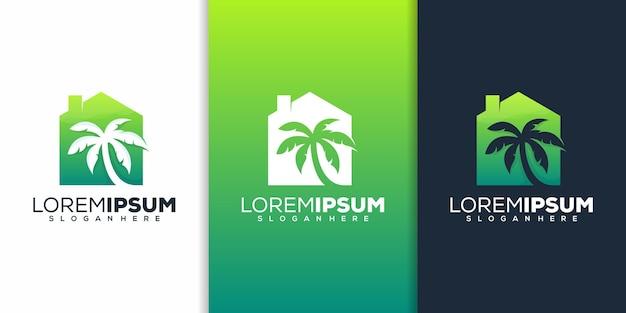 Maison avec création de logo de palmier
