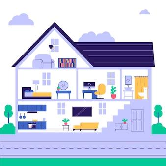 Maison créative en coupe