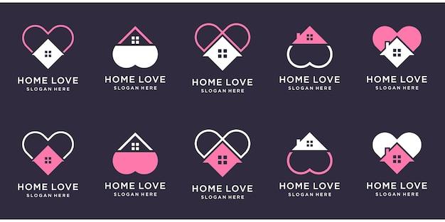 Maison créative avec ensemble de logo de forme d'amour.