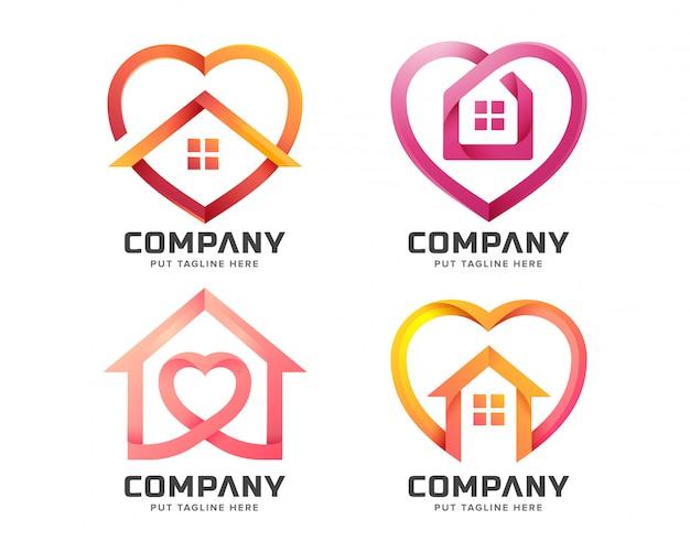 Maison créative avec modèle de logo de forme d'amour