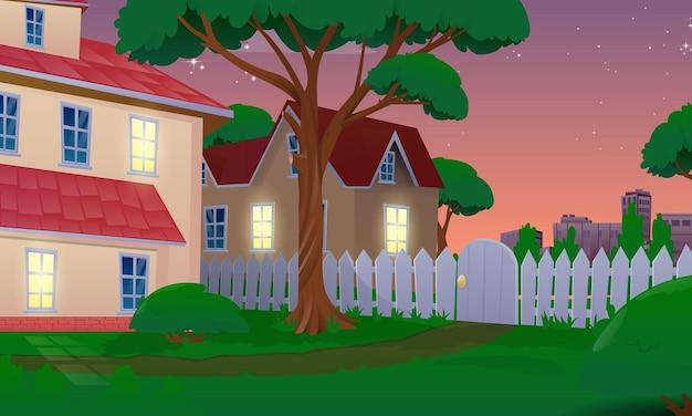 Maison dans la cour au coucher du soleil