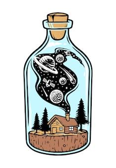 Maison dans une illustration de bouteille