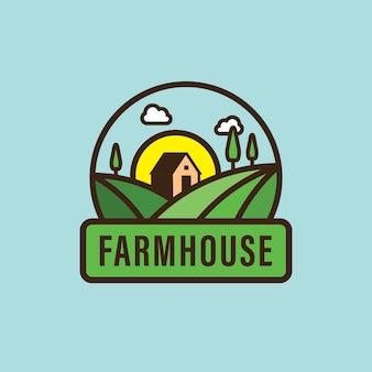 Maison dans un logo de ferme