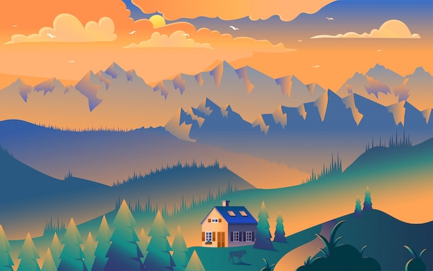 Maison dans les montagnes illustration minimaliste