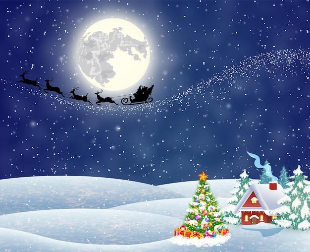 Une maison dans un paysage de noël enneigé la nuit. sapin de noël. fond avec la lune et la silhouette du père noël volant sur un traîneau. concept de voeux ou carte postale, illustration vectorielle