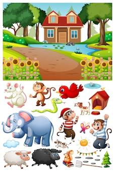 Une maison dans la scène de la nature avec des objets et des personnages de dessins animés isolés