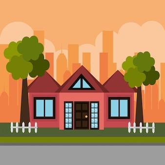 Maison dans la scène de quartier