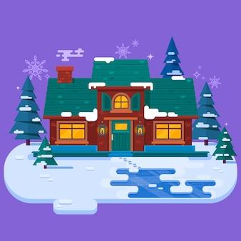 Maison dans la soirée d'hiver, carte de noël, illustration vectorielle plane. fond de neige d'hiver.