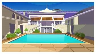 Maison de campagne avec illustration de piscine