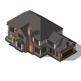 Maison décorée dans un style ossature à colombages.