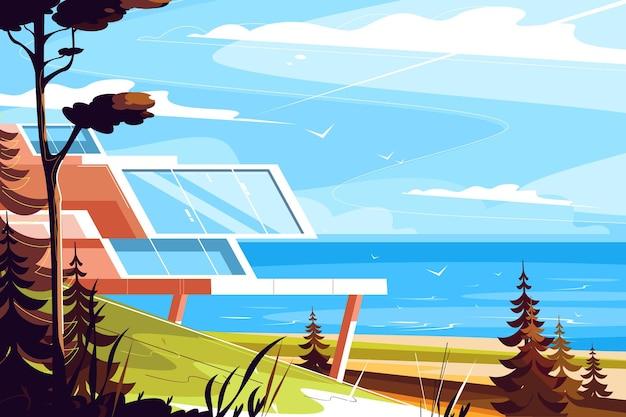 Maison de designer sur l'illustration du bord de mer