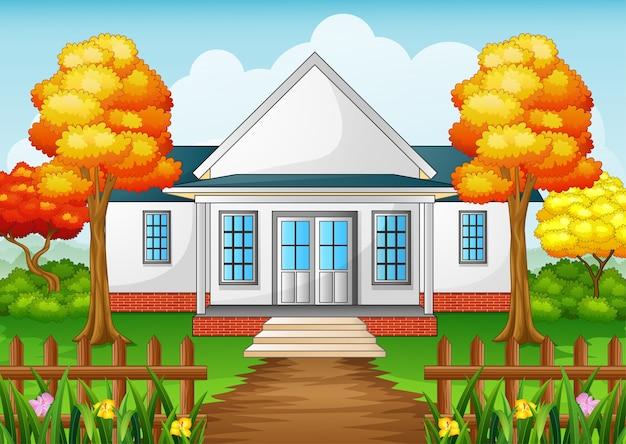 Maison de dessin animé en saison d'automne