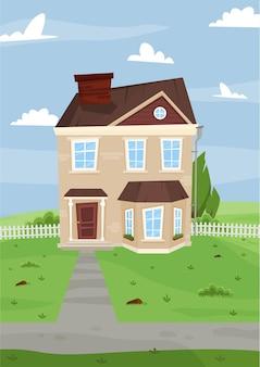 Maison de deux étages de dessin animé avec un toit brun et une clôture blanche sur une butte contre le ciel avec des nuages