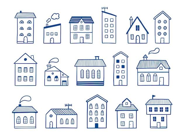 Maison doodle set croquis dessinés à la main