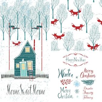 Maison douce maison ensemble d'hiver