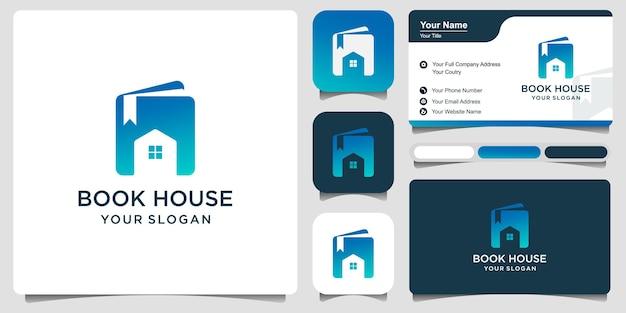 Maison du livre avec carte de visite logo template design vecteur, emblème, design concept, symbole créatif, icône