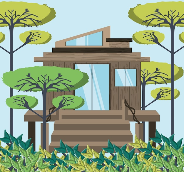Maison écologique en bois dans la forêt