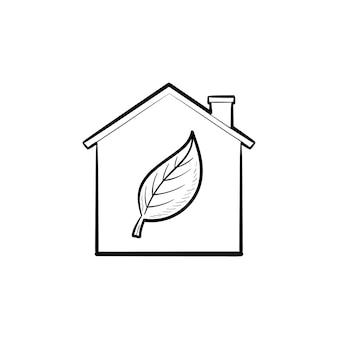 Maison écologique avec icône de doodle contour dessiné main feuille. écologie, protection de la nature, environnement, concept de santé