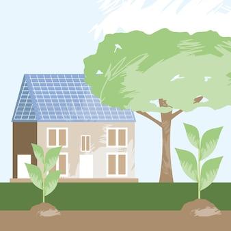 Maison écologique avec panneau solaire