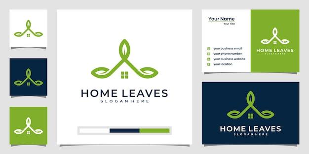 La maison élégante laisse l'inspiration du logo et la conception de la carte de visite