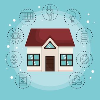 Maison entourée d'autocollants d'objet éco-friendly dessinés à la main sur fond bleu. illustration de vecteur