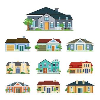 Maison extérieur vue de face ensemble de bâtiments résidentiels