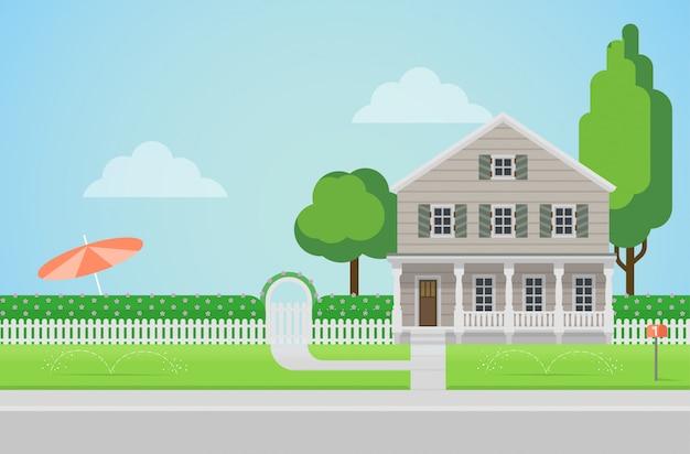 Maison familiale de campagne de style plat avec concept de pelouse d'arrière-cour.